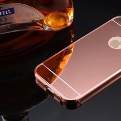 Ốp IPhone 5, 5s tráng gương viền kim loại bo tròn - HỒNG