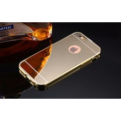 Ốp IPhone 5, 5s tráng gương viền kim loại bo tròn - VÀNG