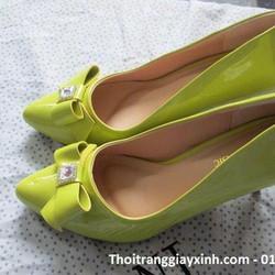 Giày cao gót phối nơ 7 phân màu xanh lá chuối