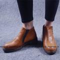 Giày bốt da nâu trơn