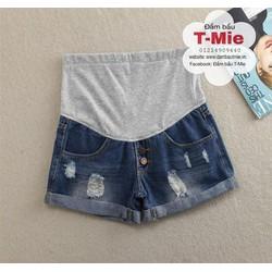 Quần short bầu, chất jeans mềm mặc thoái mái