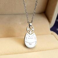 Dây chuyền mèo may mắn Totoro trắng Titan không đen
