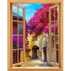Tranh dán tường cửa sổ gỗ 3D GOD-0177-2