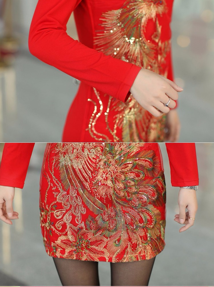 DM106 - HÀNG NHẬP ĐÀI LOAN - Đầm Polyester thêu chim phụng - M~3XL 9