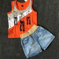 Bộ áo thun sọc phối quần jean NX091
