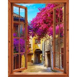 Tranh dán tường cửa sổ gỗ 3D GOD-0177-1
