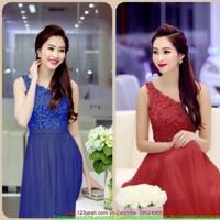 Đầm dạ hội lệch vai ren hoa cao cấp váy voan quyến rũ sDMX149