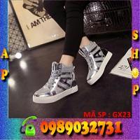 Giày cao cổ nhũ bạc nữ cao cấp 6cm - GX23