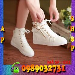 Giày bốt cao cổ nữ phong cách sneaker Hàn Quốc trắng - GX3