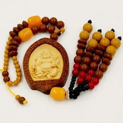 Dây treo phong thủy Phật Di lặc - gỗ giáng hương