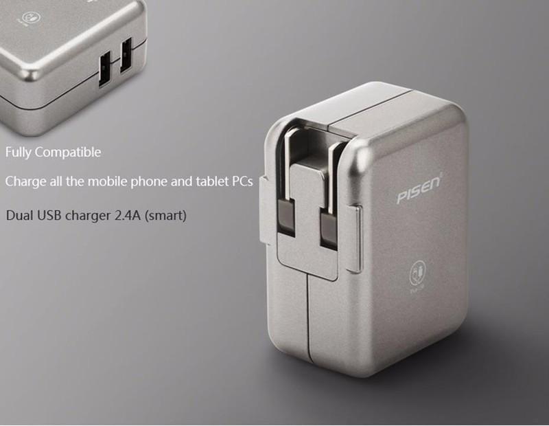 Cóc Sạc Pisen 2 Cỗng USB 2.4A Cho Ipad.Iphone 3