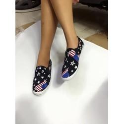 Giày lười nữ hoa văn ngôi sao cờ mỹ