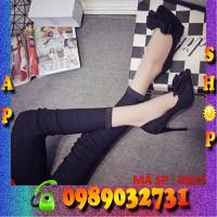 Giày cao gót phối nơ nhung đen - GX17