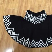 Váy thun ngắn, đen, dệt nguyên chiếc