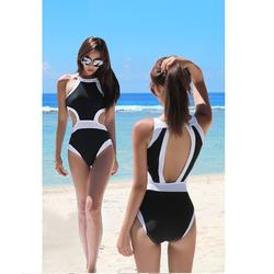 Đồ bơi nữ 1 mảnh khoét eo đen viền trắng