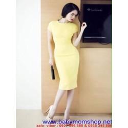 Đầm ôm tay con thiết kế đơn giản màu vàng sang trọng DOV631