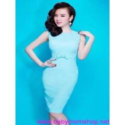 Đầm ôm màu xanh trẻ trung đính nơ xinh đẹp duyên dáng DOV628