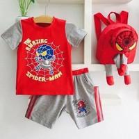 Bộ thun người nhện màu đỏ kèm ba lô 3D dễ thương cho bé trai XN200