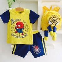 Bộ thun người nhện màu vàng kèm ba lô 3D dễ thương cho bé trai XN201