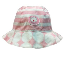 Nón tay bèo cho bé gái Enfant Trắng sọc hồng Hình gấu - Size 0-3 tuổi