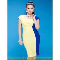 Đầm ôm dự tiệc phối 2 màu vàng xanh sang trọng và trẻ trung DOV633