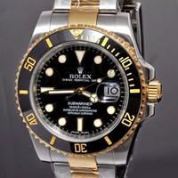 Đồng hồ R0lex Thể Thao nam RL204 mặt đen dây vàng trắng đeo cực đẹp