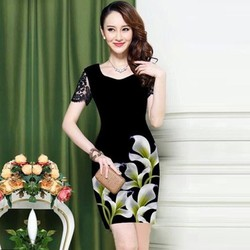 Đầm suông Công sở in 3D tay ren có size 4XL: Hoa lá xanh mùa xuân