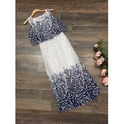 Đầm maxi voan họa tiết hoa cỏ