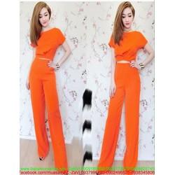 Sét áo kiểu bo eo và quần dài lửng sành điệu sang trọng SQV123