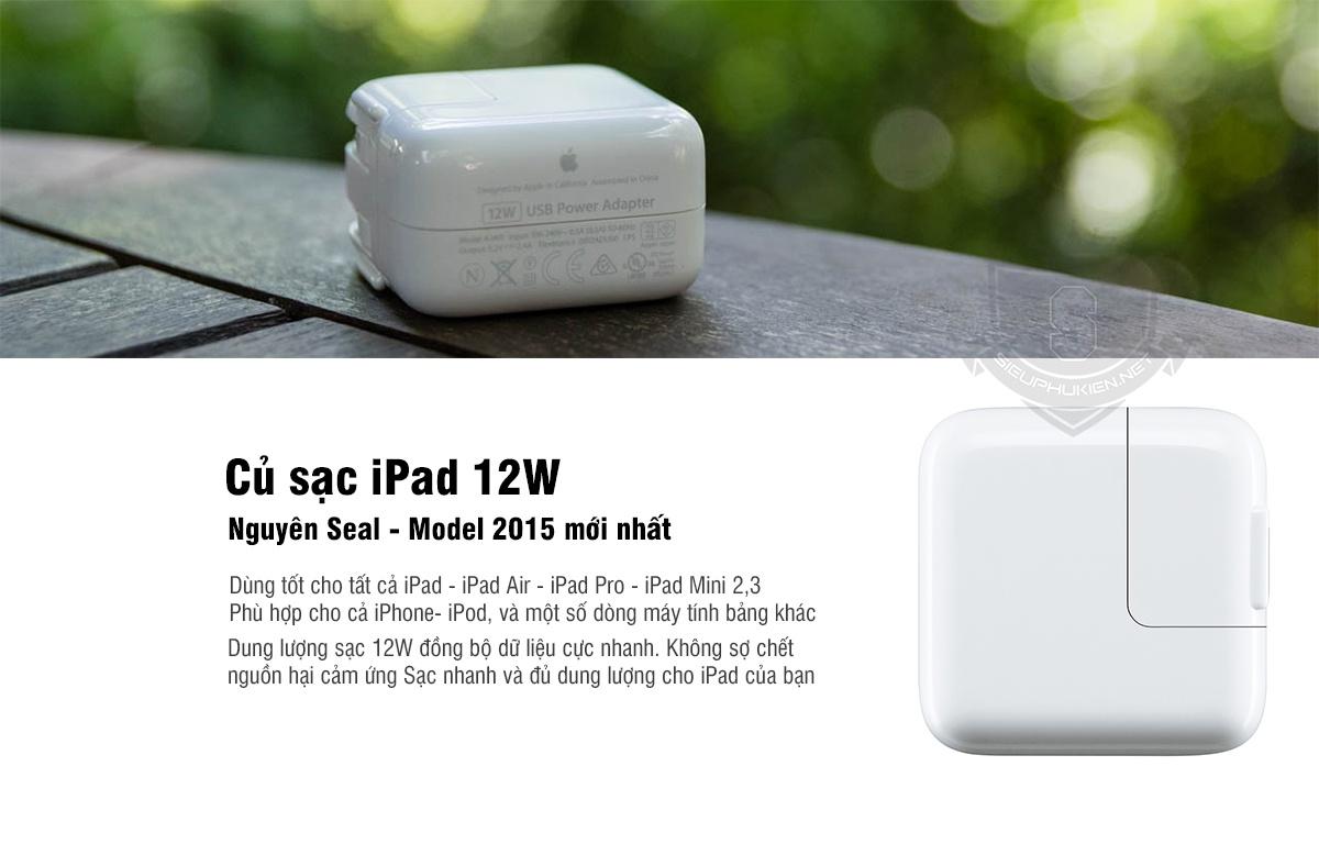 Củ sạc Ipad 1,2,3 chính hãng 12W 1