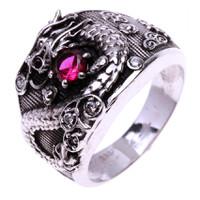Nhẫn nam bạc rồng ôm long châu Thao Linh Jewelry