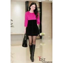 Áo khoác nỉ phối màu đen hồng