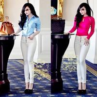 Quần jean trắng cao cấp lưng cao 4 nút