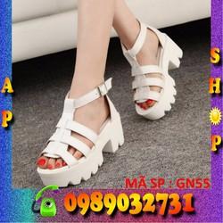 Giày sandal nữ trắng cao 6cm - AP SHOP - GN55
