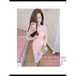 Đầm body lưới cọc hồng lọ lem