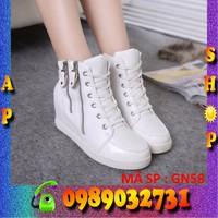 Giày sneaker nữ trắng đế độn 7 cm - ap shop - GN58
