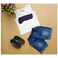 Bộ áo sát nách phối quần jeans NX144