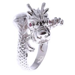 Nhẫn nam đầu rồng bạc cao cấp