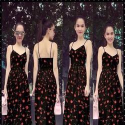 Đầm maxi 2 dây cổ V sexy họa tiết hoa xinh đẹp như Ngọc trinh DDh308