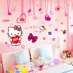 Decal dán tường Combo Hello Kitty 1 + Dây leo trái tim hồng