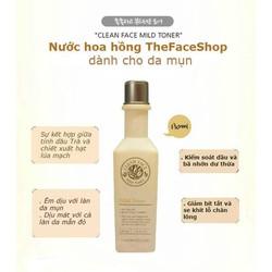THEFACESHOP - NƯỚC HOA HỒNG CHO DA MỤN CLEAN FACE MILD TONER