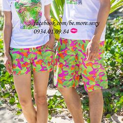 Quần cặp đôi đi biển xanh cam