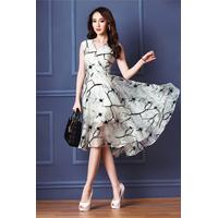 Đầm maxi voan kính in hoa cao cấp IT365