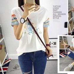 áo thun nữ tay họa tiêt- 0216