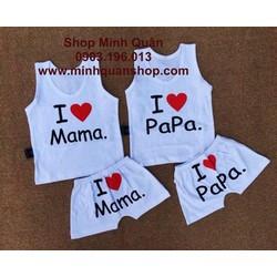 BỘ MẶC NHÀ I LOVE MAMA PAPA