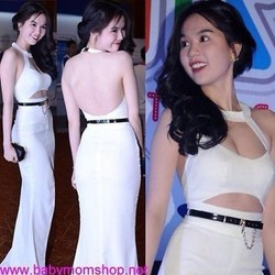 Đầm dạ hội trắng hở lưng thiết kế độc đáo quyến rũ DDH149