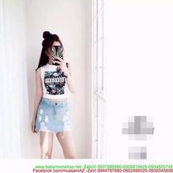 Chân váy jean cào xước ô cá tính hàng nhập Thái cao cấp CVJ23