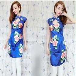 Áo dài nữ cách tân tay vải silk họa tiết hoa nổi bật xinh đẹp zzAD12