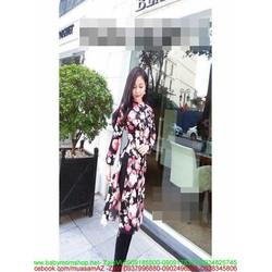 Áo dài nữ kiểu cách tân họa tiết hoa nổi bật thời trang AD24