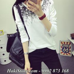 Áo thun nữ dài tay cổ tròn hàng nhập Quảng Châu màu trắng